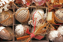 jaja pudełka gałąź święta handbell ozdób fotografia stock