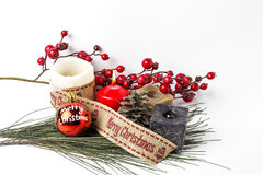 jaja pudełka gałąź święta handbell ozdób piłki zabawki Santa Claus; Świeczki; Prezenty; Zdjęcie Stock