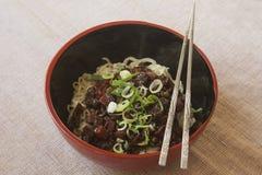 Jajangmyeon -韩国黑豆酱面条 图库摄影