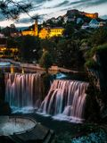 Jajce Waterfalls in Sunset time. Royalty Free Stock Photography