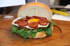 Jajeczna chorizo kanapka Fotografia Royalty Free