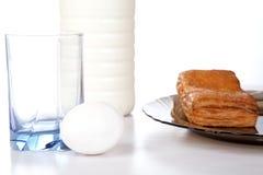 jajeczna mleka talerza rolka Fotografia Royalty Free