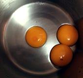3 jajecznego yolks Zdjęcie Royalty Free