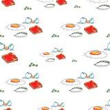 Jajecznej grzanki śniadaniowy bezszwowy wzór Obraz Royalty Free