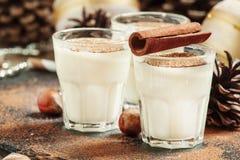 Jajecznik z mlekiem, cynamon, kraciasty nutmeg, dekorujący z jodłą co zdjęcia stock
