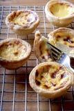 Jajeczny tarta i rozwidlenie Fotografia Stock