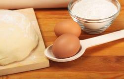 Jajka, ciasto, mąka Obraz Stock