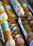Jajka dla sprzedaży przy rolnika rynkiem Zdjęcia Stock