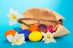Jajka i biali kwiaty fotografia stock