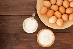 Jajka, mleko i mąka, obrazy royalty free