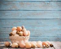 Jajka na błękitnym drewnianym tle Obraz Royalty Free