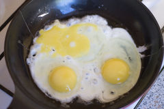 Jajka smażą w smaży niecce Omelette Obraz Stock