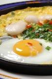 jajka smażący żelaza talerz Obrazy Royalty Free