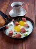 jajka smażyli kiełbasy Fotografia Royalty Free