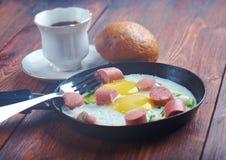jajka smażyli kiełbasy Zdjęcie Stock