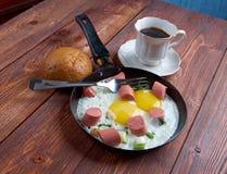 jajka smażyli kiełbasy Fotografia Stock