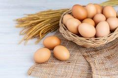 Jajka w drewnianym koszu fotografia stock