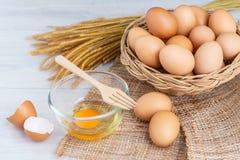 Jajka w drewnianym koszu obrazy stock