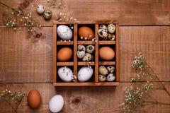 Jajka w drewnianym pudełku na stole Odgórny widok obrazy royalty free