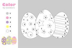 Jajka w kreskówka stylu, kolor liczbą, Easter edukacji papieru gra dla rozwoju dzieci, barwi stronę, żartują preschool ilustracja wektor