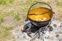 Jajka w starym kruszcowym kotle Zdjęcia Stock