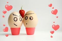 Jajka z malującą twarzą Pojęcie miłość Obraz Stock