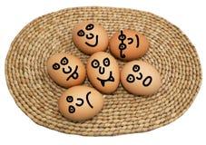 Jajka z twarzami Zdjęcia Royalty Free
