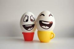 Jajko twarz Rozochocona śniadaniowa firma Fotografia dla twój projekta Obrazy Stock