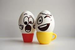 Jajko twarz Rozochocona śniadaniowa firma Fotografia dla twój projekta Obraz Royalty Free
