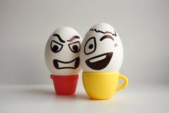 Jajko twarz Rozochocona śniadaniowa firma Fotografia dla twój projekta Zdjęcia Stock