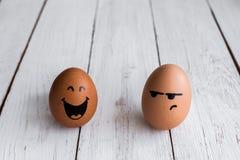 Jajko twarze, drawnigs na jajku zdjęcie stock