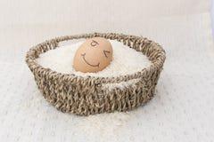 Jajko w brown koszu na ryż Obrazy Stock