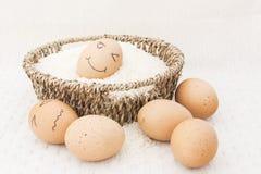 Jajko w brown Koszykowym surowym ryżu obrazy royalty free