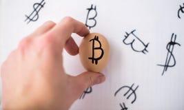 Jajko z loga bitcoin w ręce Pojęcie waluta obraz stock