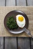 Jajko z szpinakiem dla zdrowego śniadania Fotografia Royalty Free