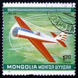 Jak-50从系列`第10个世界特技冠军`飞行,大约1980年 库存图片