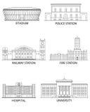 jak był budynki konserwować miasta tworzenia ikon mapy ustalony standalone używać Zdjęcie Royalty Free