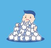 Jak ja pojęcie Aprobata symbole Szczęśliwy kreskówka mężczyzna ściska błękitną guzik rękę lubi Płaski projekt dla ogólnospołeczne Zdjęcia Stock
