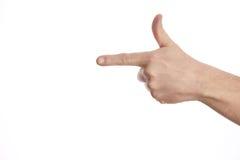 Jak ręka gest dalej odizolowywa białego tło Zdjęcia Royalty Free