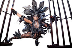jak stroju target1434_0_ surrealistyczny być ubranym kobieta Obrazy Royalty Free