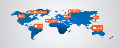 Jak, zwolennik, komentarz ikony na mapy tle gulgocze ilustraci eps 10 powiadomienia szablonu blogu odpierającego wizerunek royalty ilustracja