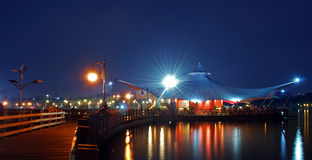 Jakarta beach. At night in ancol stock photo