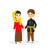 Jakarta - Betawi Traditional Dress Vector Illustration Stock Image