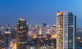 Jakarta business district at night Royalty Free Stock Images