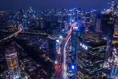 Jakarta central business district with traffic jam