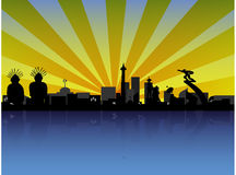 Jakarta citiscape in Silhouette Royalty Free Stock Image