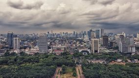 Jakarta city capital of Indonesia. Jakarta downtown panoramic viewed from nacional monument Stock Photo