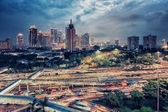 Jakarta city capital of Indonesia. Sunset over Jakarta city downtown stock images