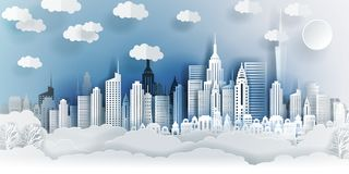 Jakarta city concept, Indonesia. Paper art city on back with buildings, towers, clouds. stock illustration