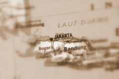 Jakarta a city in Indonesia. Jakarta a city in the Republic of Indonesia selective sepia focus royalty free stock image